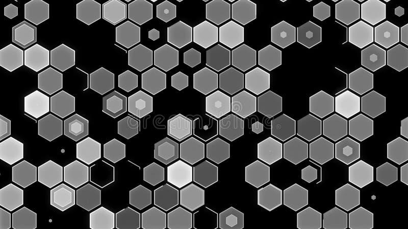 3D例证,抽象几何背景 白黑口气箱子 图库摄影