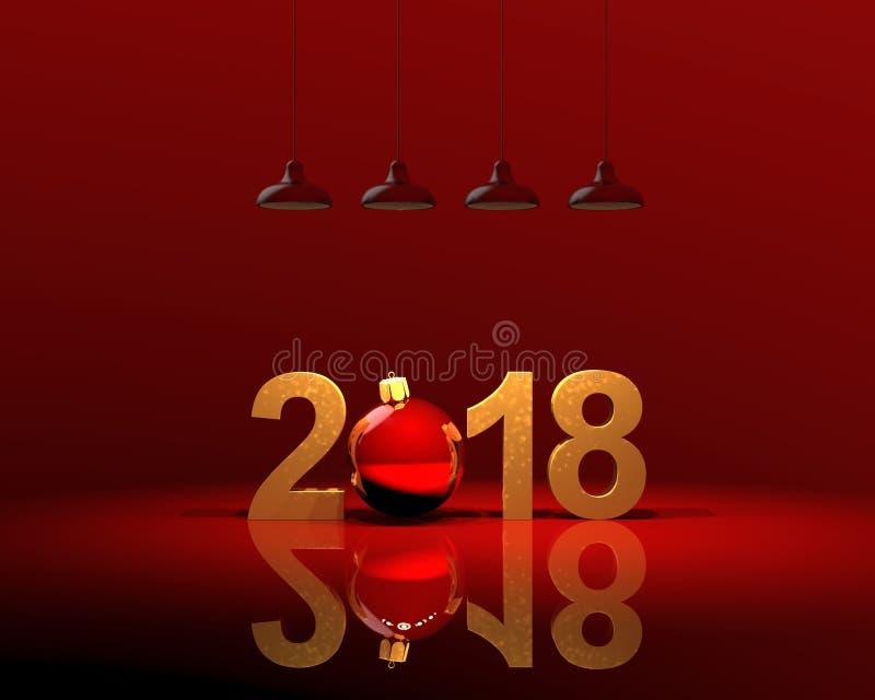 3D例证, 3D回报在红色的新年2018年 向量例证