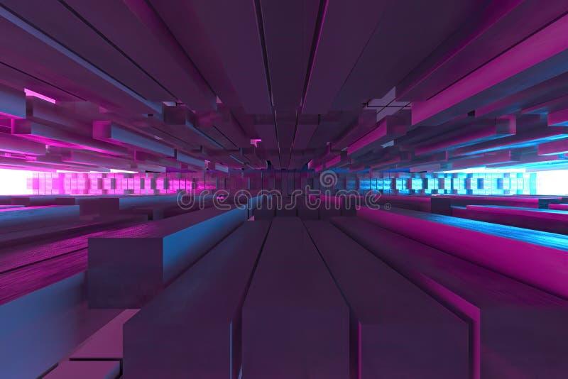3D例证,3d回报,立方体背景的抽象图象,道路对光,塑料桃红色和蓝色背景 皇族释放例证