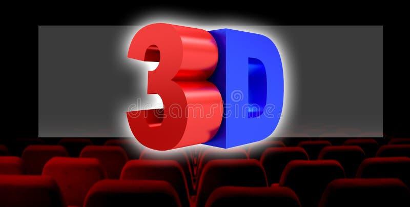 3D例证,3D数字戏院产业技术概念 库存例证