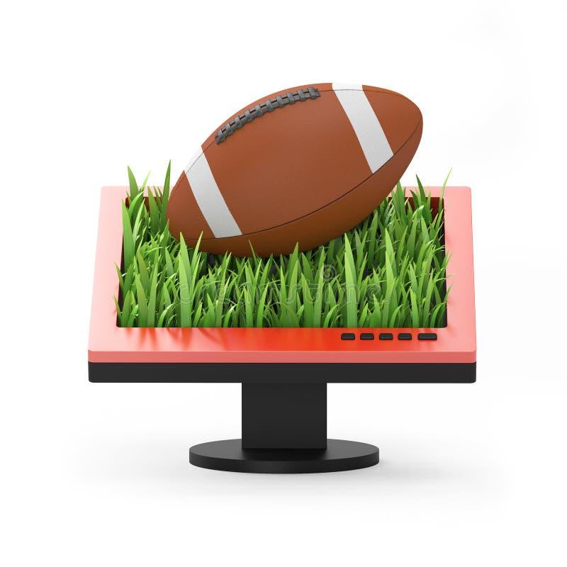 3d例证:与橄榄球球的显示器 向量例证