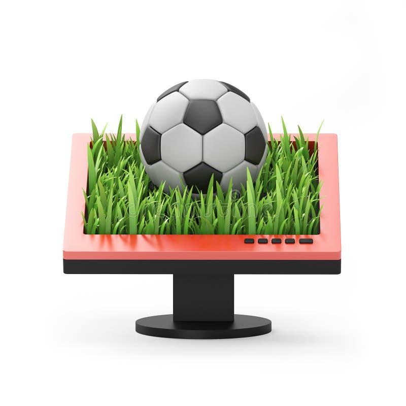 3d例证:与足球的显示器 库存例证