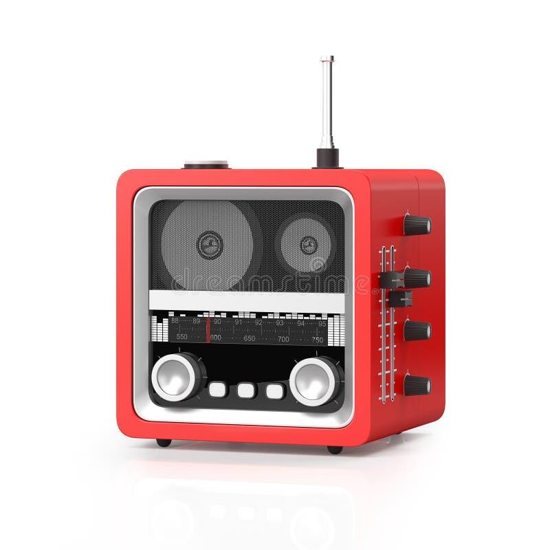 3d例证:在白色背景的现代斥责收音机 向量例证