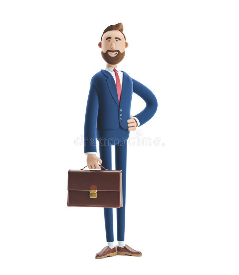 3d例证 一个英俊的商人比利立场的画象与案件的 向量例证