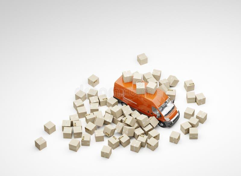 3d例证 不精确的包裹处理和交付 箱子和红色搬运车堆  奶油被装载的饼干 免版税库存图片