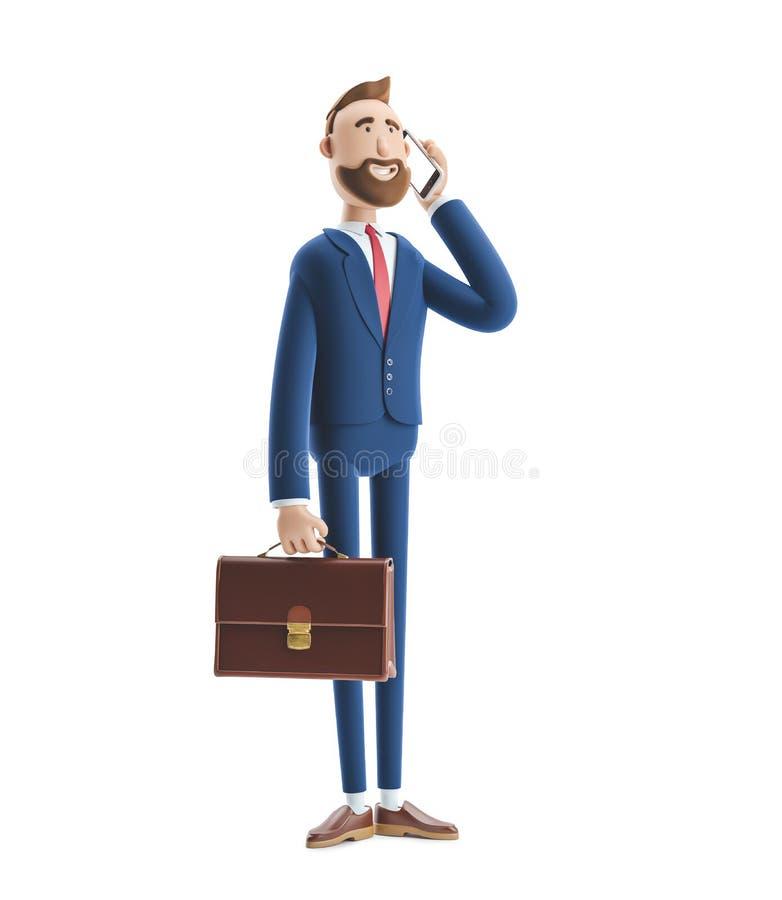 3d例证 与案件的商人比利谈话在电话 向量例证