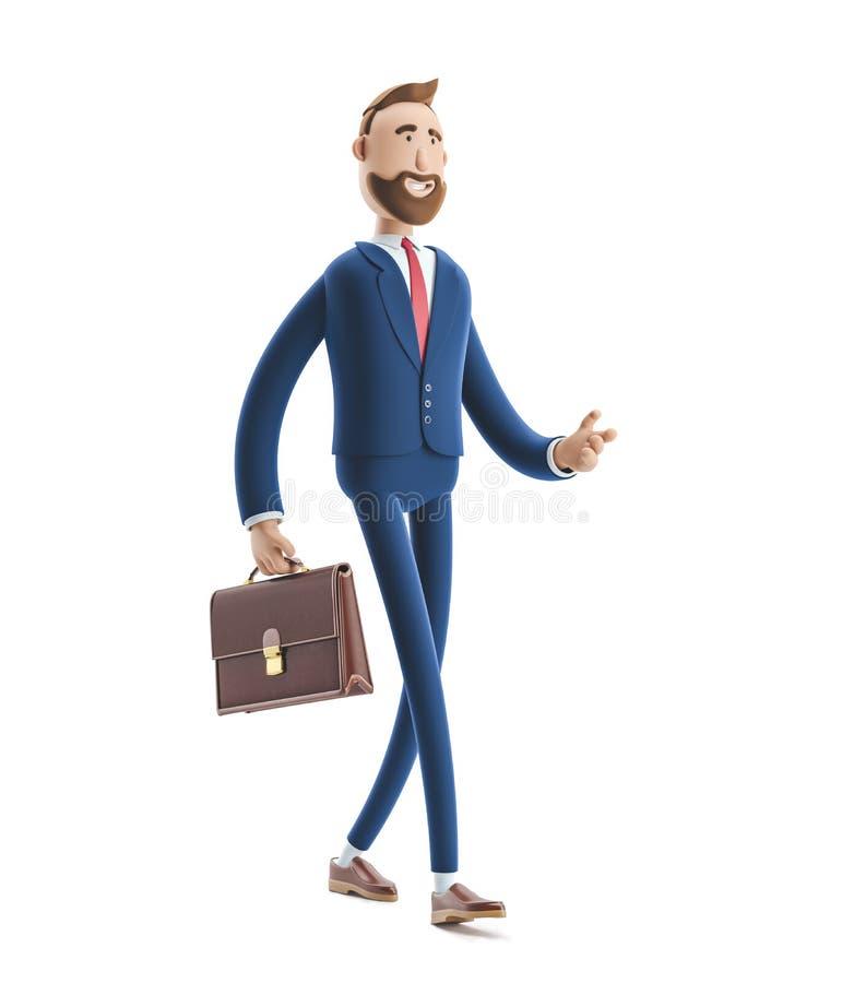 3d例证 与案件走的商人比利 库存例证