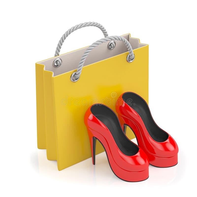 3d例证 买妇女的 库存例证