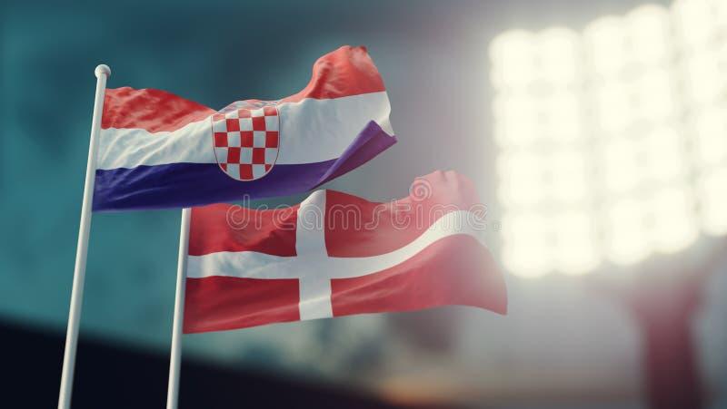 3d例证 挥动在风的两面国旗 夜体育场 冠军2018年 足球 克罗地亚对丹麦 库存例证