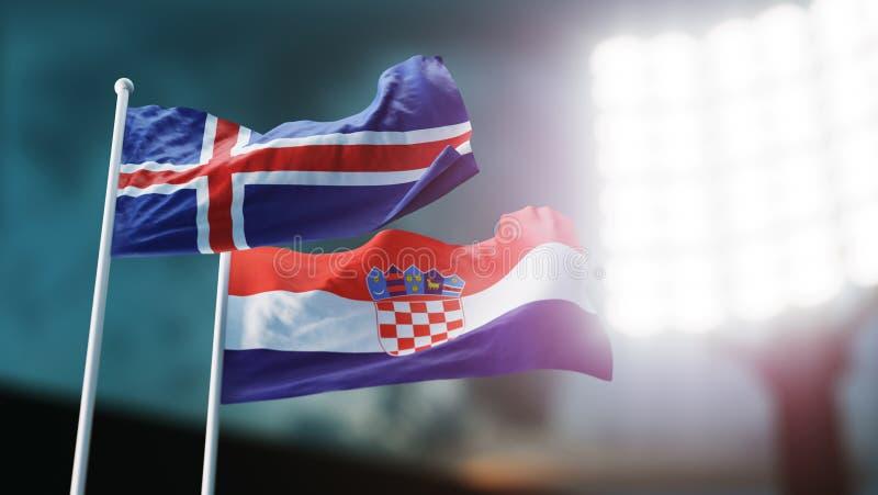 3d例证 挥动在风的两面国旗 夜体育场 冠军2018年 足球 克罗地亚对冰岛 皇族释放例证