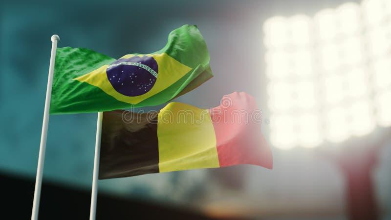 3d例证 挥动在风的两面国旗 夜体育场 冠军2018年 足球 巴西对比利时 库存例证