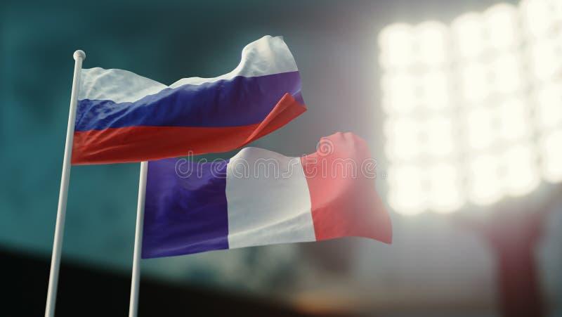 3d例证 挥动在风的两面国旗 夜体育场 冠军2018年 足球 法国对俄罗斯 向量例证