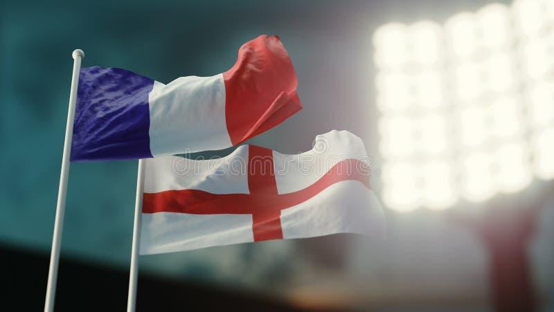 3d例证 挥动在风的两面国旗 夜体育场 冠军2018年 足球 法国对英国 皇族释放例证