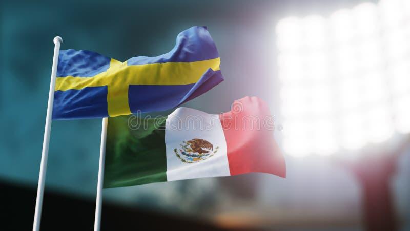 3d例证 挥动在风的两面国旗 夜体育场 冠军2018年 足球 瑞典对墨西哥 库存例证