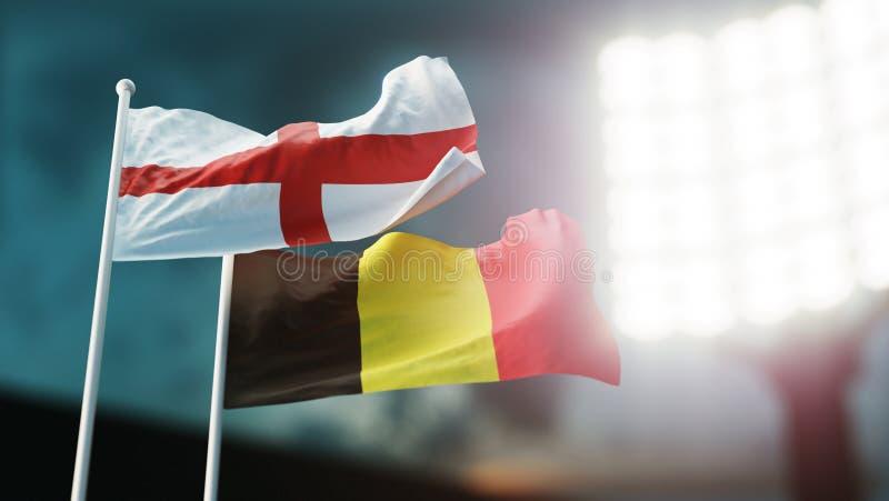 3d例证 挥动在风的两面国旗 夜体育场 冠军2018年 足球 英国对比利时 库存例证