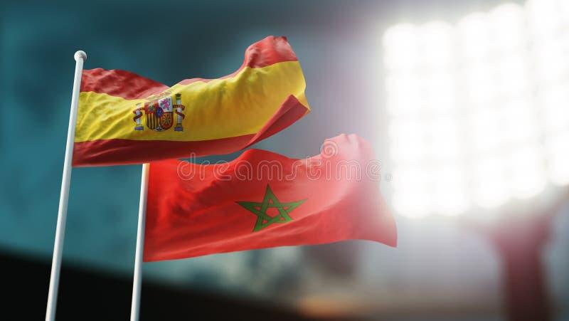 3d例证 挥动在风的两面国旗 夜体育场 冠军2018年 足球 西班牙对摩洛哥 向量例证