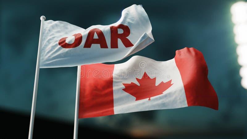 3d例证 挥动在风的两面旗子 国际关系概念 俄罗斯加拿大桨 向量例证