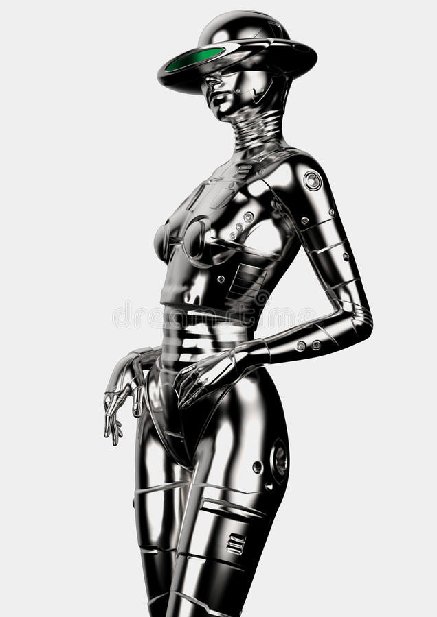 3d例证 时髦的chromeplated靠机械装置维持生命的人妇女 向量例证