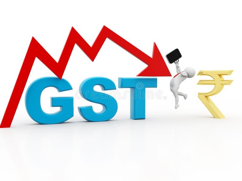 3d例证GST税在白色背景中隔绝的印度概念 库存例证