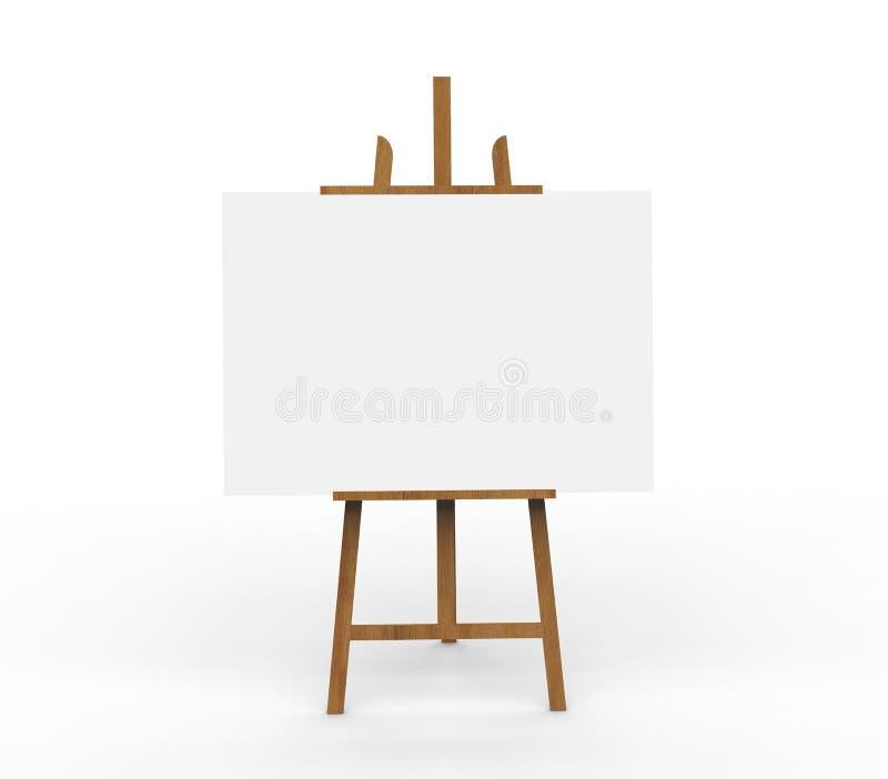 3D例证ob在一个木画架的空白帆布 库存例证