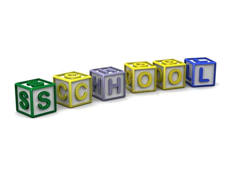 信件求拼写学校的立方 向量例证