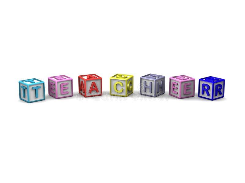 信件求拼写老师的立方 向量例证