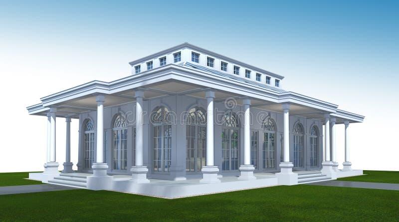 3D修造的外部翻译  建筑学透视3D 皇族释放例证