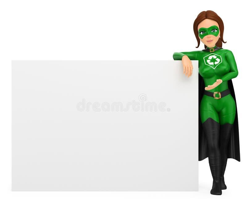 3D倾斜在一张空白的海报的回收的妇女超级英雄 向量例证