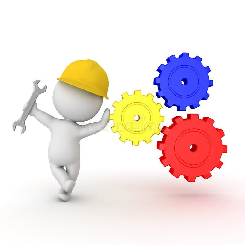 3D倾斜在齿轮机构的建筑工人 库存例证
