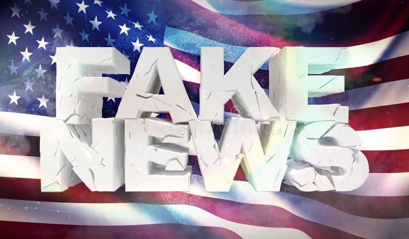 3D假新闻概念的例证与美国的背景旗子的 皇族释放例证