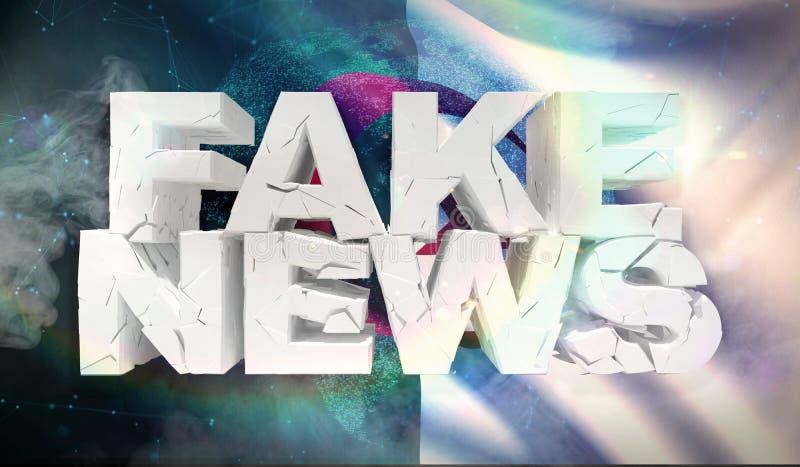 3D假新闻概念的例证与阿尔及利亚的背景旗子的 皇族释放例证