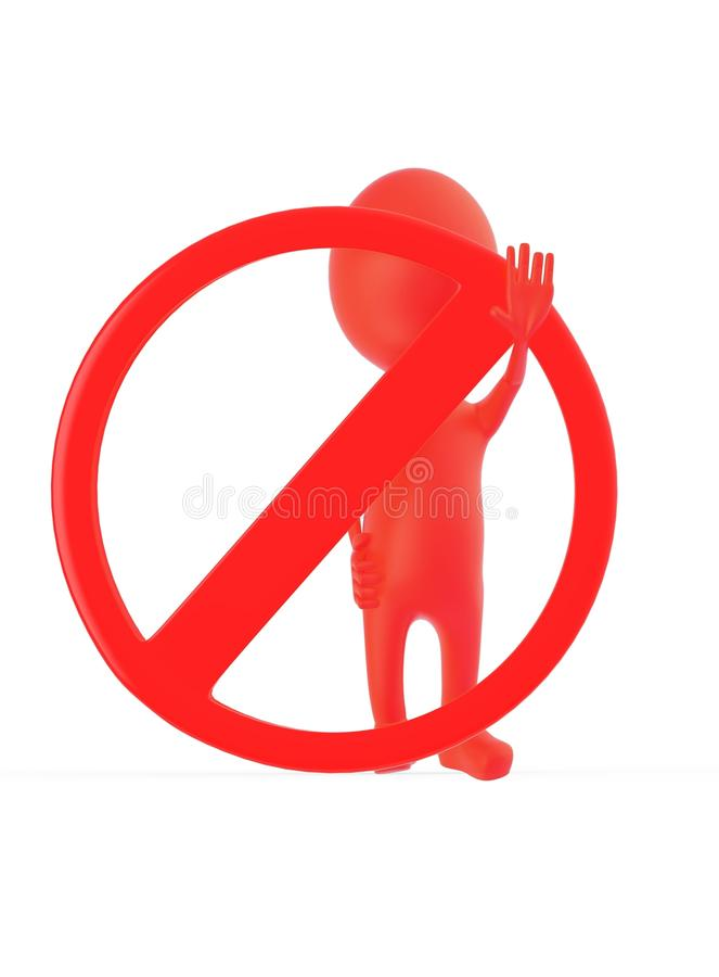 3d做中止姿态用他的手的红色字符,当站立近对一个禁止的标志时 库存例证
