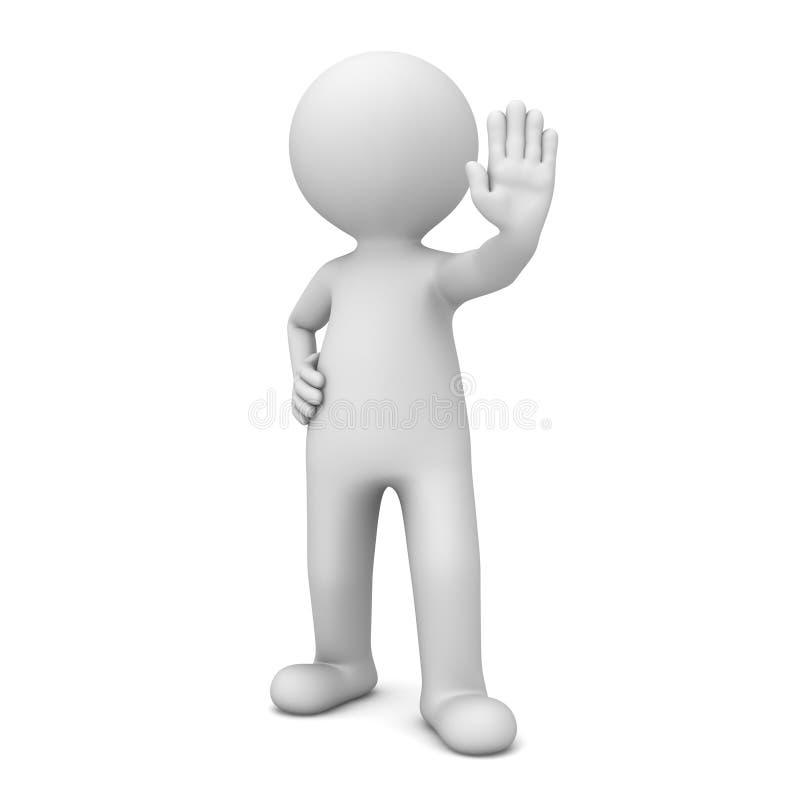3d做中止手标志的人在白色 皇族释放例证