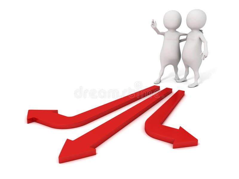 3d做出伙伴的选择的人帮助在箭头方式 向量例证