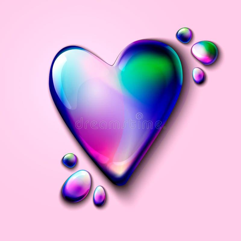 3D做广告和网的现实全息照相的心脏 情人节卡片的全息照相的容量心脏 全息照相的3D听见 库存例证