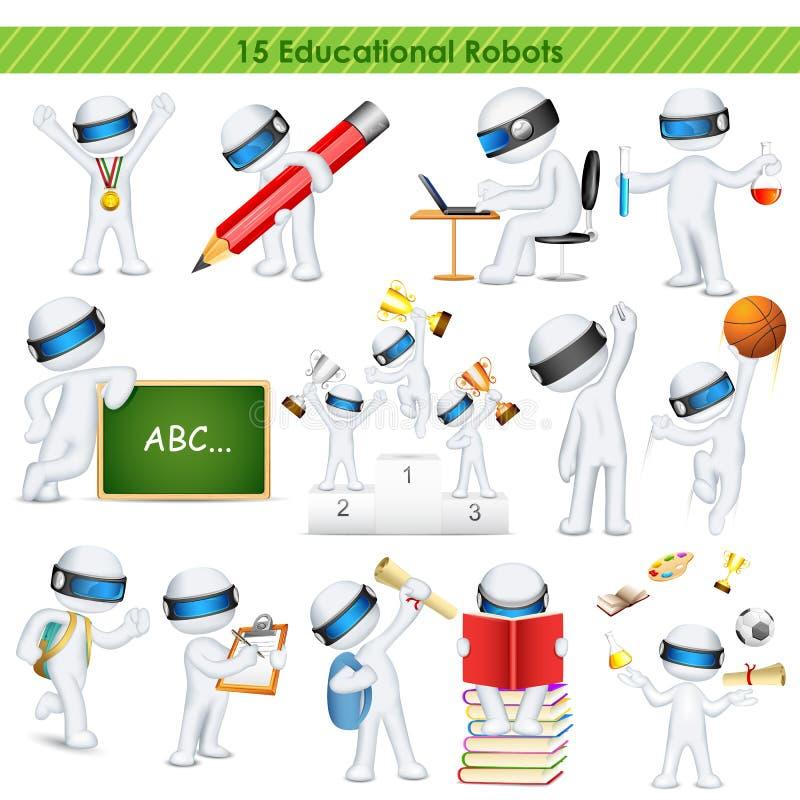 3d充分地可升级的传染媒介的教育学生 向量例证
