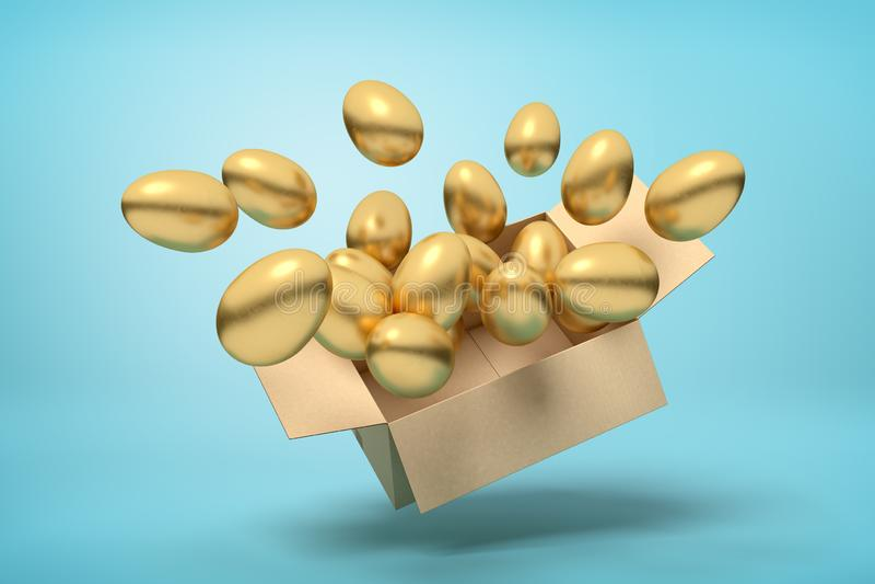 3d充分纸板箱翻译在空中的金黄鸡蛋在浅兰的背景 向量例证