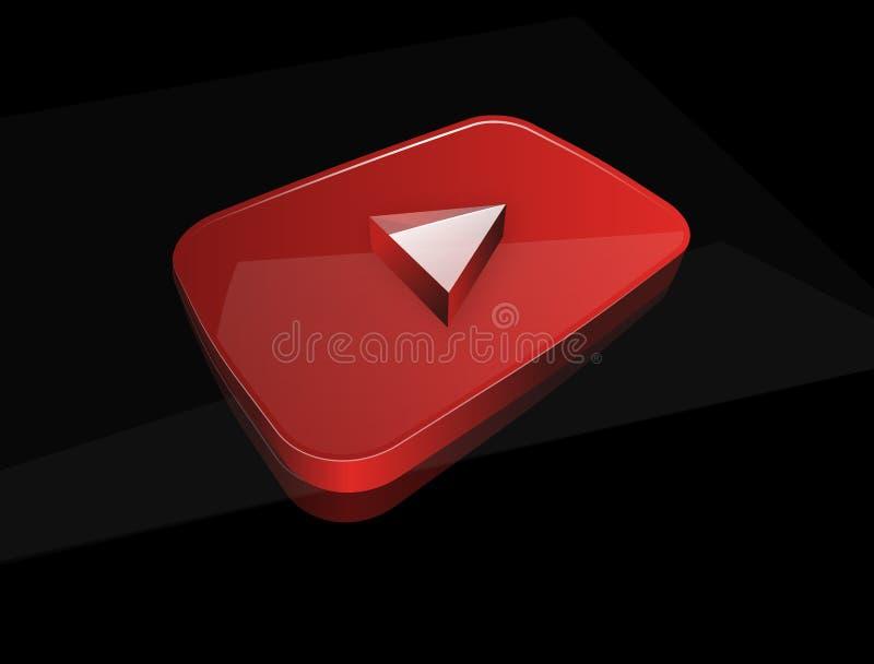 3D光滑的红色戏剧按钮 向量例证