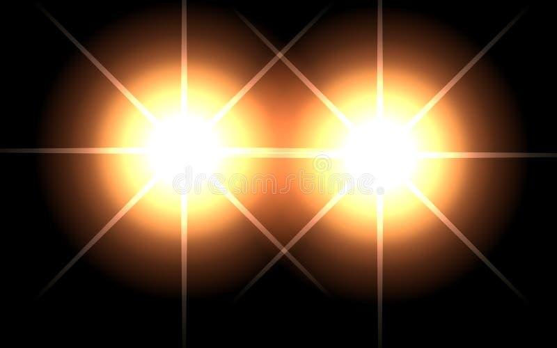 3d光的例证在黑背景的 库存例证