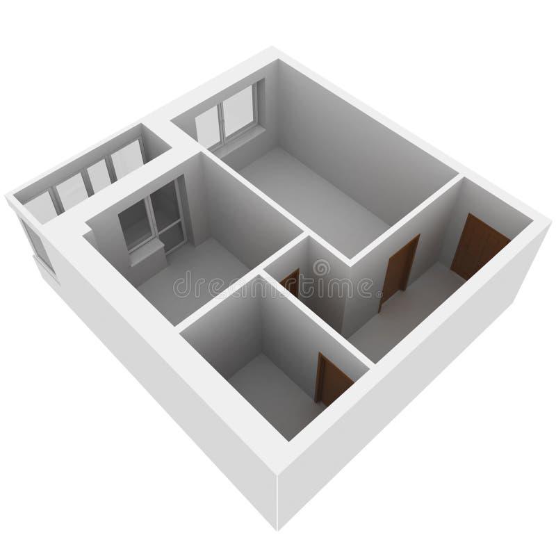 3d公寓计划 库存例证
