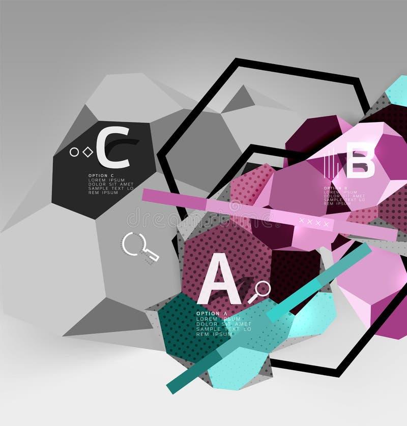 3d六角形几何构成,几何数字式抽象背景 库存例证