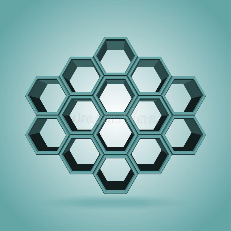 3d六角形样式 皇族释放例证