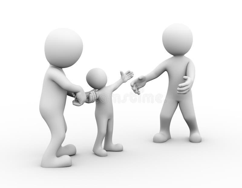 3d关于儿童监护权的家庭纠纷 库存例证