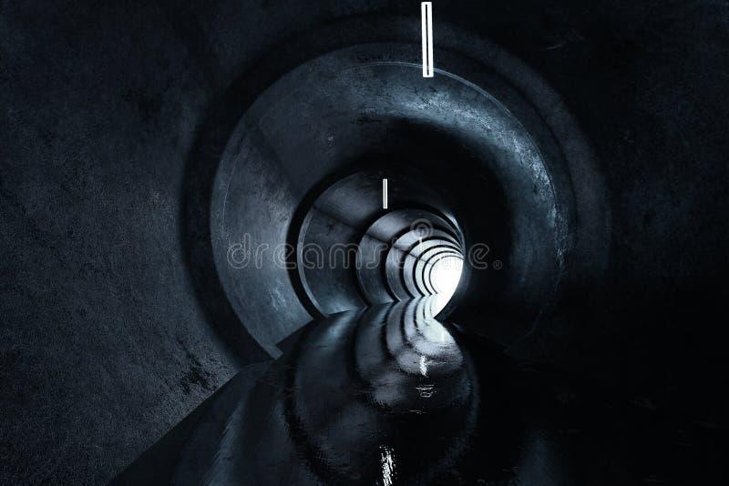 3d具体圆的隧道翻译有光的在末端 向量例证