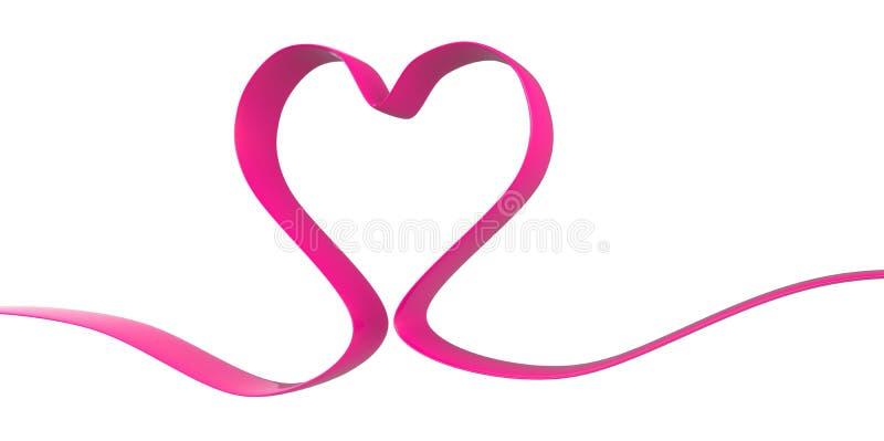 3D典雅的在白色背景的丝带紫色桃红色心脏形状形式 库存例证