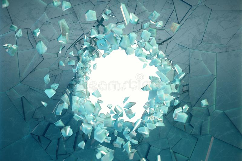 3D冰例证墙壁与一个孔的在粉碎的中心到小片断里 您的横幅的地方 库存图片