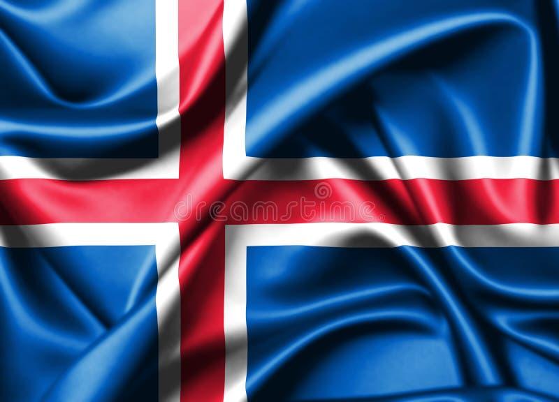 3d冰岛国家旗子  库存例证