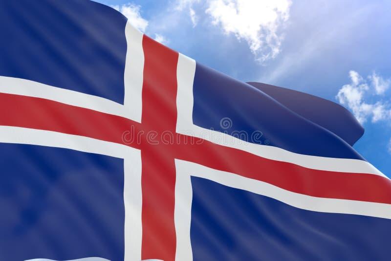 3D冰岛的翻译沙文主义情绪在蓝天背景 向量例证
