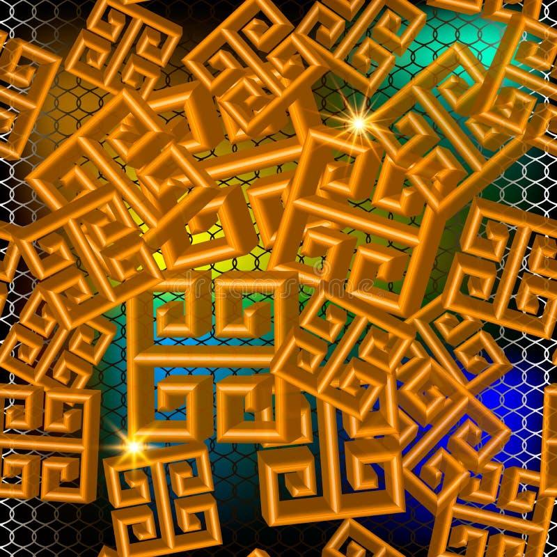 3d几何希腊传染媒介无缝的样式 发光的五颜六色的栅格背景 重复发光的鞋带背景 现代抽象希腊语 库存例证