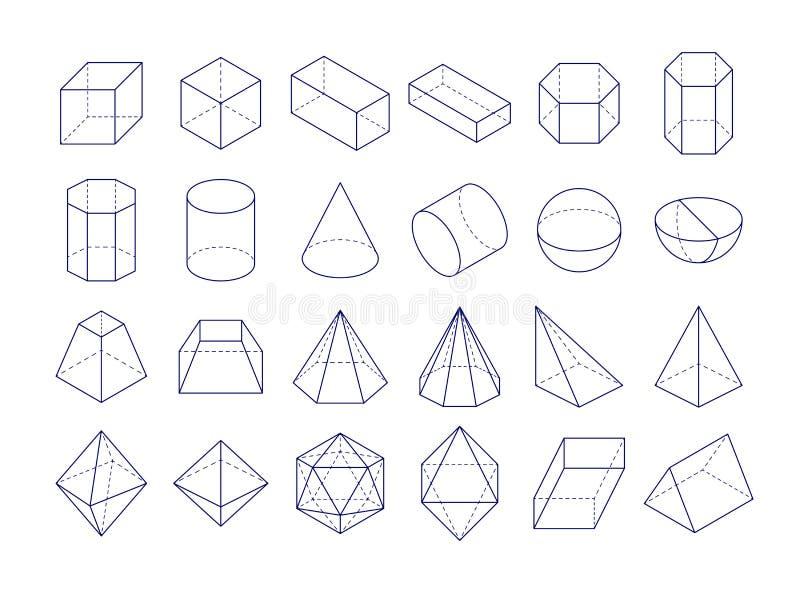 3D几何形状 皇族释放例证
